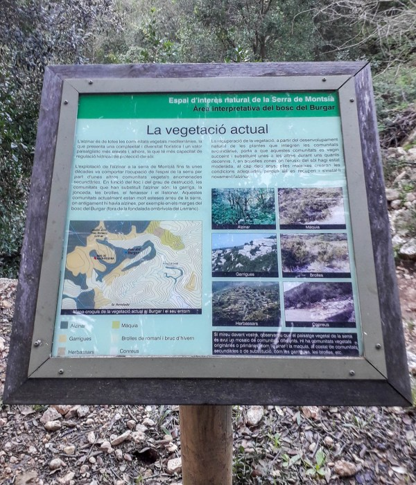 A sign with all types of greenery that you are passing by (almost everything is written on Catalan or Spanish)