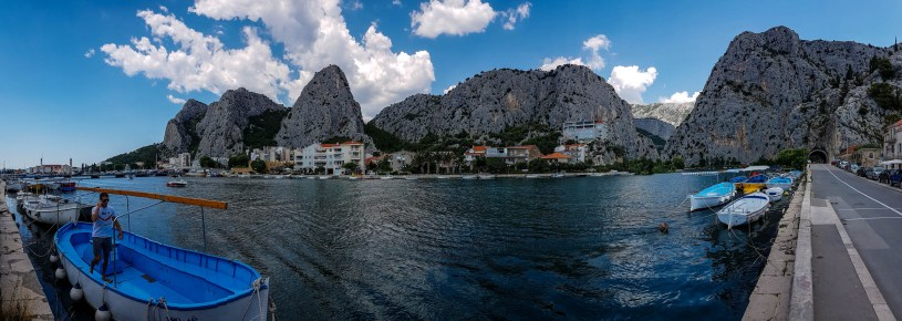 Panorama view on Omis city, Adriatic sea and mountains