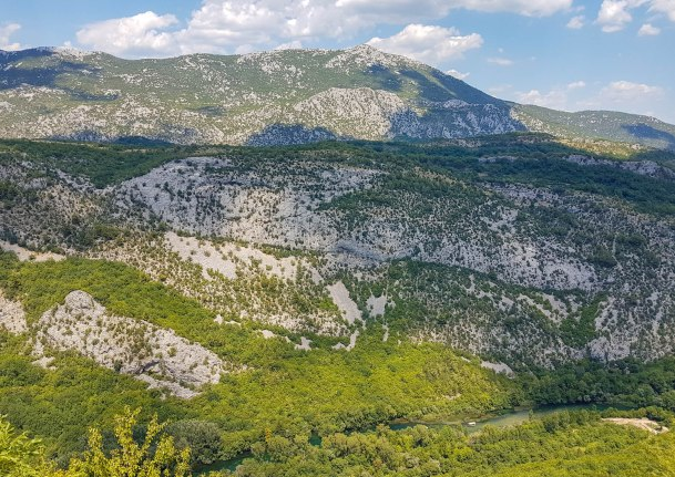 Mountains on a sunny day above Cetina river