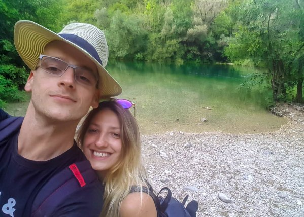 Boyfriend and I on a Cetina river beach