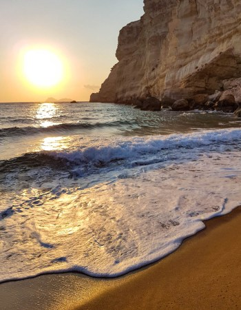 Red Sand Beach in Matala Crete