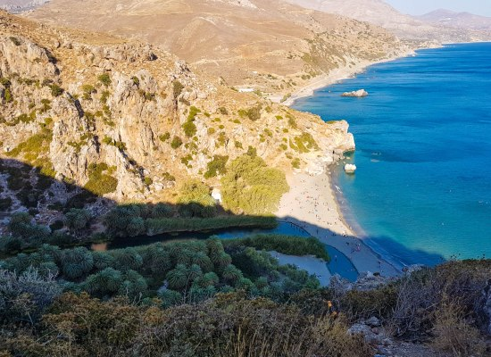 Preveli beach view in Crete island