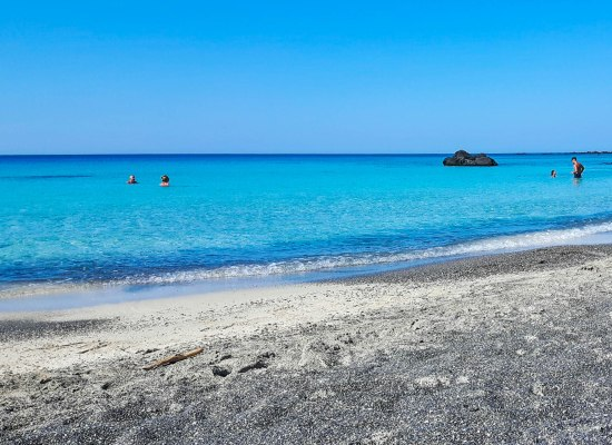Kedrodasos white and black sand beach in Crete island