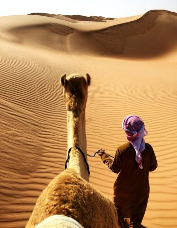 A man and an animal in Oman desert