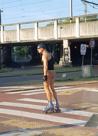A man in thongs on the street