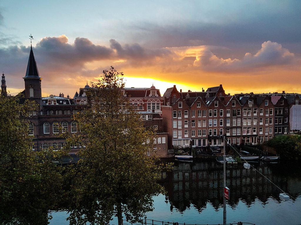 Sunset in Amsterdam on the canal