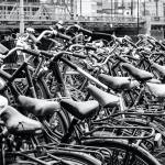 Many bikes in the row in Amsterdam