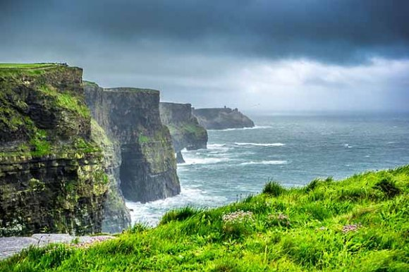 Cliffs of Moher in Ireland and the greenery