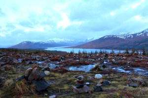 Highland Fairytale: Loch Garry with mini stone sculptures in the foreground we built to make a wish