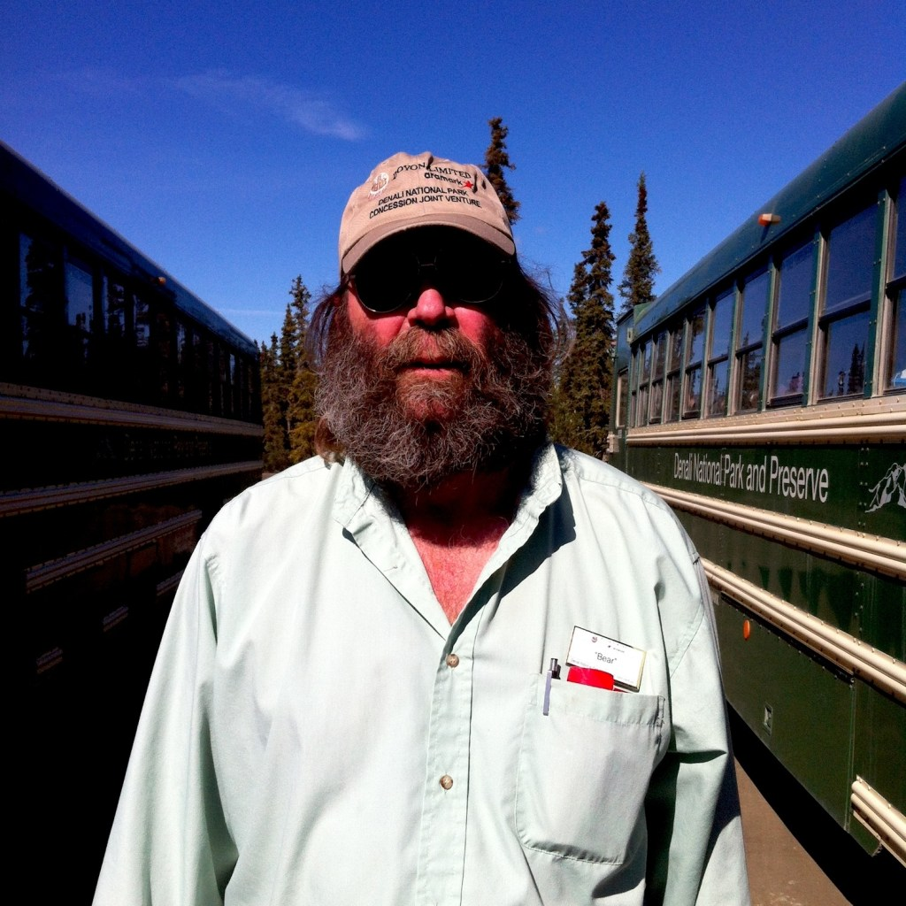 Denali National Park: our bus driver Bear, by the side of his bus