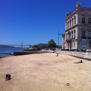 Kindness of strangers: the small city beach by the River Tagus in Lisbon