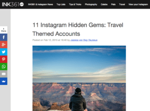 photography featured on the web: 11 Instagram Hidden Gems: Travel Themed Accounts (screen shot of the website)