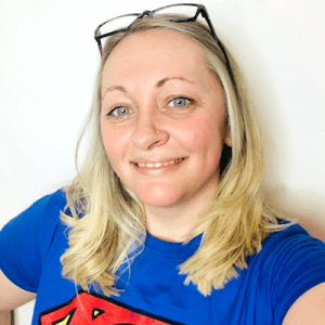 Kirsten Thompson wearing a Superman t-shirt.