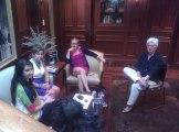 Panelists Christine Fair & Paula Newberg with Zeb and Haniya