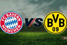 A picture of the date of the upcoming match between Bayern Munich and Borussia Dortmund in the German Super Cup and the transmission channels