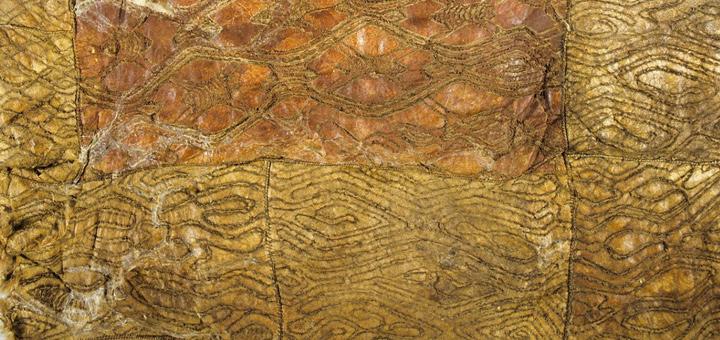 Close-up of Hunter Valley Cloak, Wonnarua/Awabakal/Gamilaroi, in Smithsonian Institute Collection, Washington D.C.