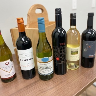 6 Bottle Collection of Wines in Wooden Case paired with Cheese Tray