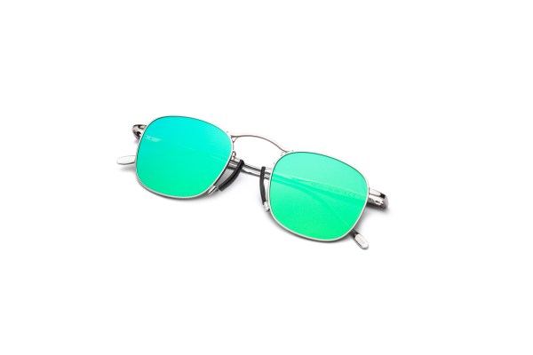 Shiny Silver/Mirrored Green