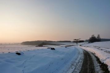 Bei Hochdorf über Wiesen- und Ackerland