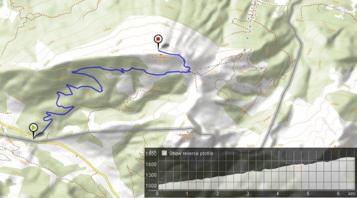 Route Berglauf Breitenberg Bikemap