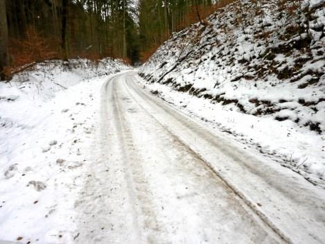 Nordseitiger Abstieg im schattigen Wald, hier halten sich Schnee und Eis meist lange