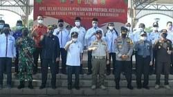Walikota Banjarmasin bersama Forkopimda berfoto bersama usai melaksanakan apel gabungan. (foto: ist)