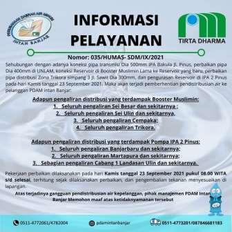 Pengumuman PDAM Intan Banjar.