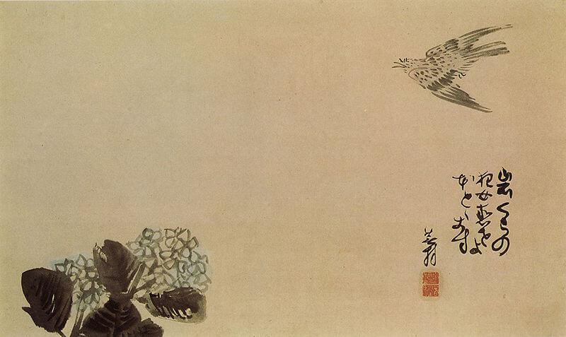 Yosa Buson - Cuco volando hacia una hortensia