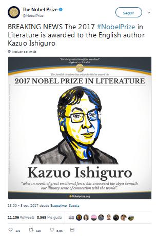 Kazuo Ishiguro Nobel de literatura 2017