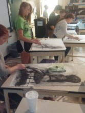 Cheyenne, Riley, Ambria, Frank, Miah, and Sean - way in the back... working on their drawings of our model McKayla.