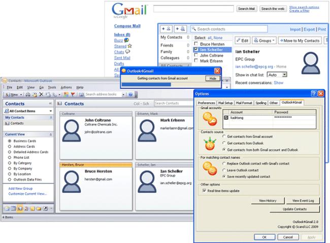 Outlook4Gmail main screen
