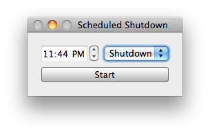 Interface for scheduled shutdown