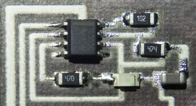 Close up of a surface mount circuit printed straight onto paper