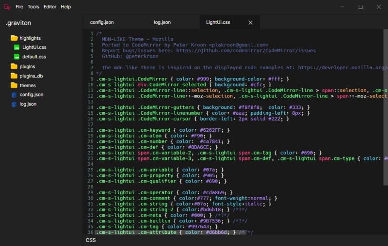 Exemple de code dans le logiciel Graviton