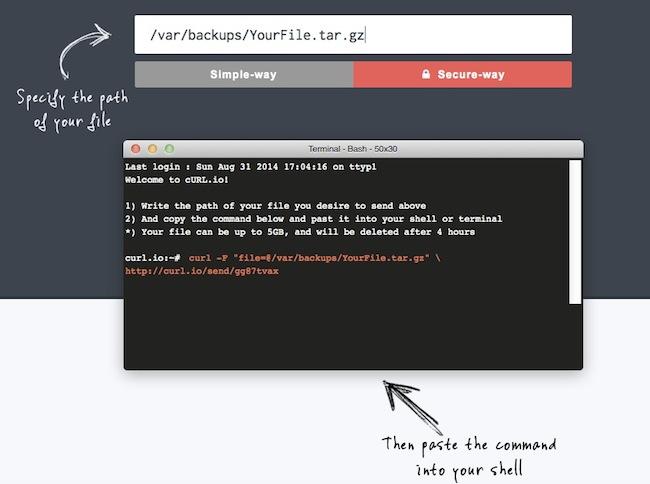 curlio Partager des fichiers à partir de votre terminal