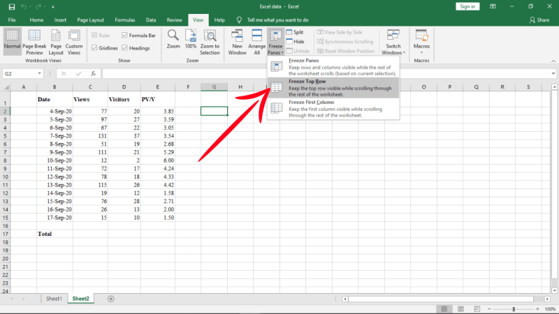 Freeze one top row in excel