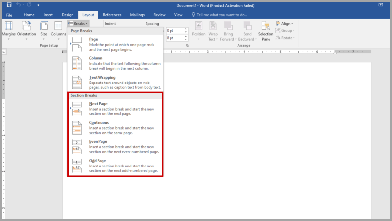 This is where you can create a section in Microsoft Word.