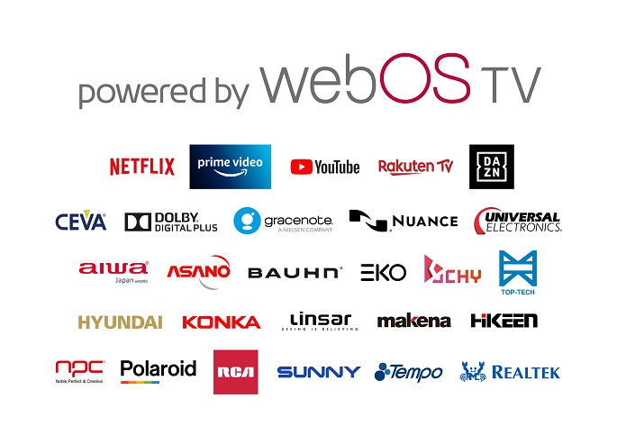 This image provided by LG Electronics Inc. on Feb. 24, 2021, shows logos of firms and services that support LG's webOS smart TV platform.