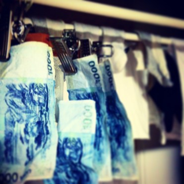 Hang drying my money afer laundering it.