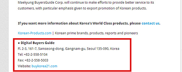 Contact information of suppliers – sample image – Korean-Products.com