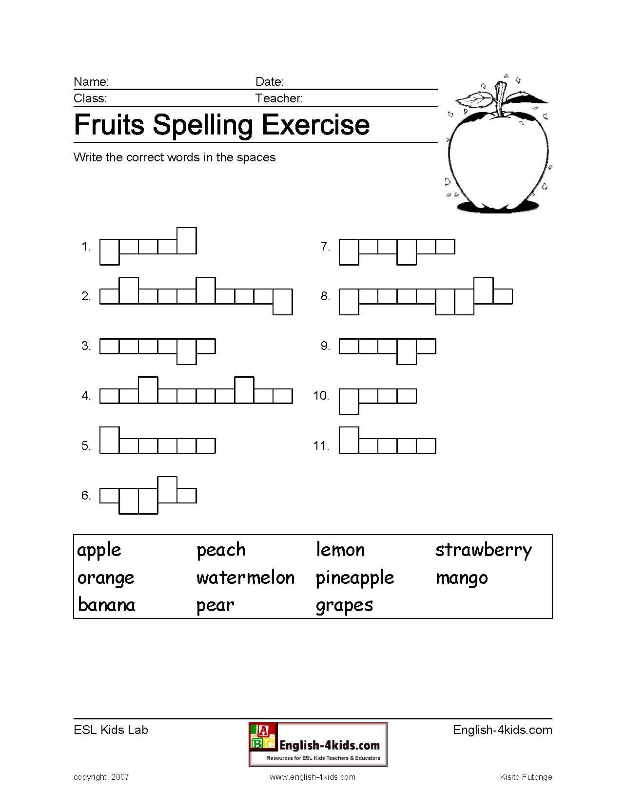 Fruit Spelling Exercise