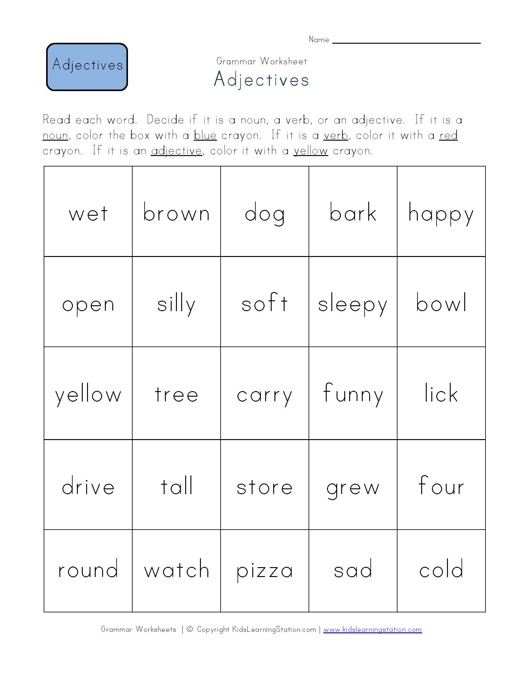 Grammar Worksheet Adjectives