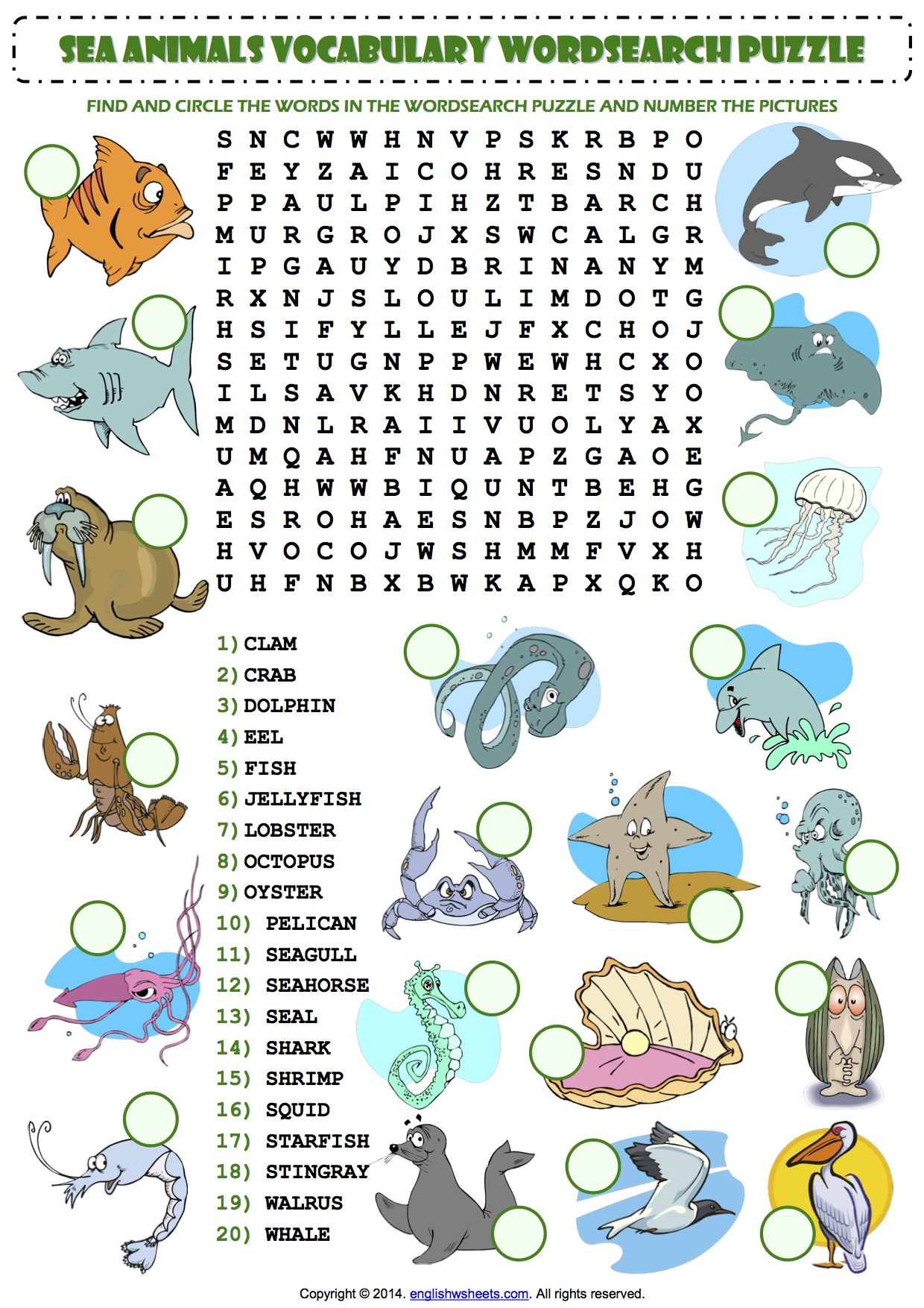 Sea Animals Wordsearch