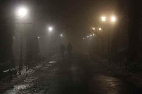 Mysterious, misty Krakow on a cold winter's night, Poland.