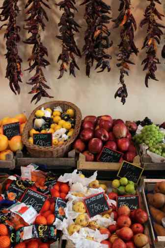 Fresh fruit and vegetables on sale in Pécs, Hungary.