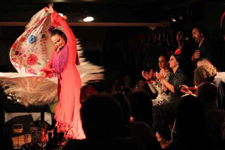 A flamenco dancer wows the crowd in a Madrid bar, Spain.