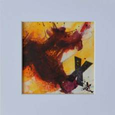 """Small abstract seascape painting on paper """"Soar"""" by Kore Sage"""