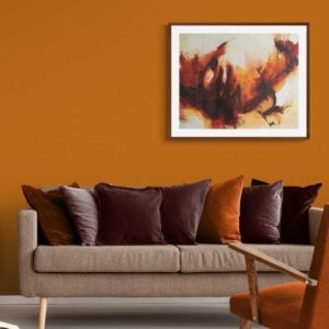 The Wave by Kore Sage on orange living room wall
