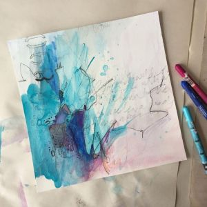 Blue and Purple loose art on watercolour paper, making time for art for mental health