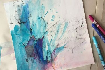 Blue and Purple loose art on watercolour paper